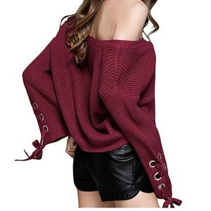 Women sexy off shoulder knitted sweater